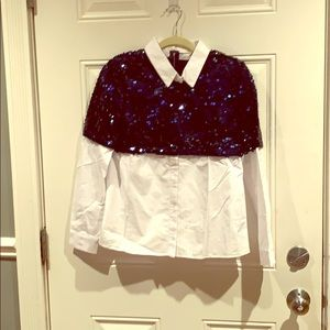 English Factory Tops - NWOT. Navy sequined top button up.